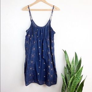 Anthropologie Lilka Blue and Gold Dress